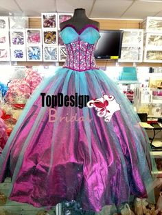 Wholesale 2016 new sweet 15 dress fuchsia blue beaded crystals taffeta tulle quinceanera ball gown ORS347