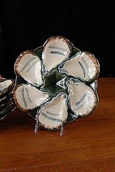 Set of 6 French Majolica LONGCHAMP Oyster Plates