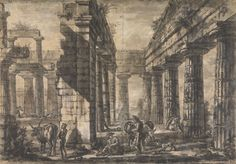 3 of 5 : Lot 2: A Set of 4 Sp. Ed. Reproduction Drawings from the Temples of Paestum series by Piranesi SS3J