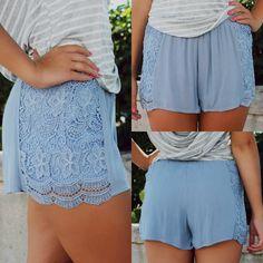Carolina Blue Crochet Lace Sides Short | UOIOnline.com: Women's Clothing Boutique