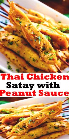 Thai Chicken Satay with Peanut Sauce (baked or grilled!) #Thai #Chicken #Satay #with #Peanut #Sauce #(baked #or #grilled!)