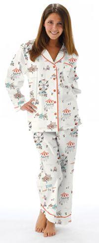 "Munki Munki Women's ""Fairgrounds"" Poplin Pajama in White"