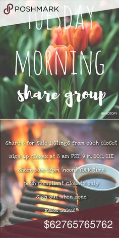 """CLOSED Tuesday Morning Early Girly Share Group .Grab some coffee and Let's get this started!   NEW MEMBERS sign in with """"new"""" beside your name, share first & THEN others will share you. This is only to cut down on the amount of moochers who sign up & do not share. Feel free to come back for new members AFTER they have shared you  Sign in by tagging your name  Share 8 listings from each closet  Like this listing so you can find it!  No comments until after sign up closes  PLEASE don't sign up…"""