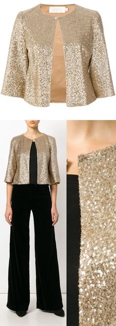 Goat Evongold jacket. Sea of Gold Sequins Short Evening Jacket for AW17 Sequins Trend. Evongold jacket from Goat. 3/4 Length Sleeves. Wear with Black velvet jumpsuit or Dress, or a Navy Pleated Velvet Midi Skirt for a great evening combo that smashed two AW17 trends in one. #fashion #fashionitsa #sequins #aw17 #christmas #christmasparty #affiliatelink #fashionaddict #jackets