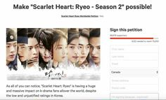 K-Drama Fans! United we have a voice! It's been one year and international fans still mourn and suffer with aching hearts at the ending of season 1. We need a happy ending! We need closure for Wang So and Hae Soo♡ https://www.change.org/p/sbs-make-scarlet-heart-ryeo-season-2-possible?recruiter=770667058&utm_source=share_petition&utm_medium=copylink&utm_campaign=share_petition
