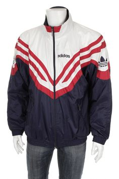Vintage 90s Adidas Trefoil Windbreaker Tracksuit top jacket Blue/Red/White Size L D7 by VapeoVintage on Etsy
