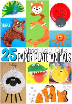 Absolutely Cute Paper Plate Animals - These paper plate crafts are great for preschoolers, kids in kindergarten and older kids!