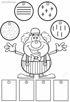 Clown Party, Math Worksheets, Fine Motor Skills, Coloring Pages, Activities For Kids, Kindergarten, Preschool, Arts And Crafts, Notebook