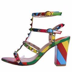 Women Sandals Sexy Valentine Shoes Woman Gladiator Sandals Women Rainbow Women Shoes Rivet High Heels Pumps sapato feminino