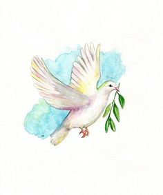 Dove with Olive Branch/aqua blue/ Archival by kellybermudez, $19.00