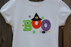 Appliqued Halloween BOO Shirt by forthelittlepeeps on Etsy