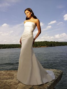 Fit & Flare Strapless Ruched Bodice Satin Wedding Dress-wa0022, $224.95