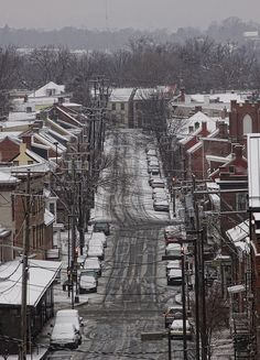 Our old street in Frederick. All snowy.