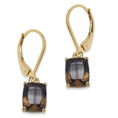 5.44 CT TW Octagon-Cut Smoky Quartz Drop Pierced Earrings in 14k Gold over Sterling Silver