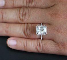 14k Gold Single Cushion Halo Ring Natural White Topaz Emerald Cut 10x8mm, $540 USD, Etsy, Twoperidotbirds, 04/16