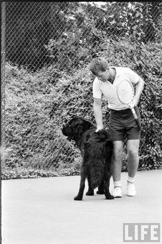Bobby Kennedy and Brumus, his Newfoundland dog. Ethel Kennedy, Robert Kennedy, Mclean Virginia, Jack Johns, Hickory Hills, Washington, John Junior, Greatest Presidents, Dog Show
