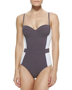 Lipsi Colorblock One-Piece Swimsuit, Women's, Size: LARGE, Bedford Gry/Ivory - Tory Burch