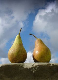 Cold, refrigerated pears on a hot summer's day.