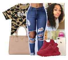 """""""⚪️"""" by theylovinniaaa ❤ liked on Polyvore featuring A BATHING APE, Prada and NIKE"""