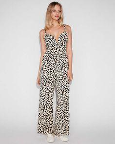 61de445c585e Express Leopard Print V-Wire Cami Jumpsuit - ShopStyle Pants