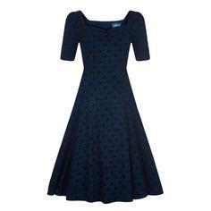 Modré šaty se sametovým vzorem Collectif Doll | Blanka Straka