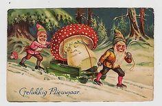 AMANITA MUSHROOM,2 Gnomes w/ a Large Amanita Mushroom,FANTASY,New Year ...