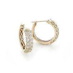 Unique Diamond Hoop Earrings 1.58ct 14K Gold