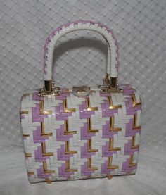 Vintage 60s White Violet and Gold Hand Made Woven Purse Wicker