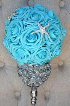 Flor turquesa bola con strass broche de estrella por KimeeKouture