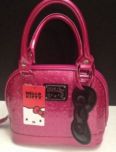 NWT Sanrio Hello Kitty Pink Small Logo Dome Satchel Tote w Black Bow NWT 0a6d40c2d1f56
