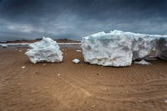 Enormous ice chunks wash up on the shores of Cape Cod