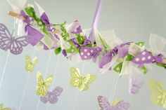 Baby Mobile - Butterfly Mobile in Lavender & Lime Green- Nursery Decor, Baby Shower Gift, Photographer Prop. $38.00, via Etsy.