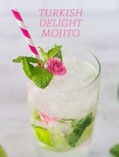 Turkish Delight Mojito, a twist on the classic cocktail with white chocolate liqueur, rosewater and pretty petals. Click for recipe.
