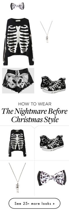 """Cute little skeleton"" by phan-and-bands on Polyvore featuring Yves Saint Laurent and Converse"