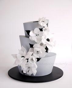 Silver Topsy Turvy Cake