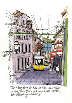 Rua Da Bica, Lisbon, Portugal by James Richards Watercolor Sketch, Watercolor Illustration, Watercolor Paintings, Street Pictures, City Sketch, Portuguese Culture, Watercolor Architecture, Travel Drawing, Cartoon Sketches