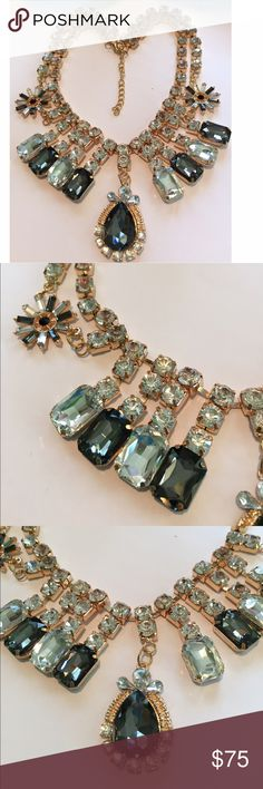 Elegant Gold, Crystal and Smoky Quartz Necklace. Stunning Gold & Crystal Necklace with a Beautiful Smoky Quartz Teardrop that is Surrounded by Crystal and Gold. Also includes Smoky Quartz and Crystal Flowers Jewelry Necklaces