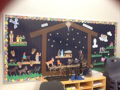 Nativity display with year 2