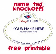 #Free #printable name tag knockoff magnet - fish extender gift idea for #Disney cruise