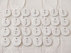 Antique Farmhouse Individual Handmade Typography Clay Tags, Set of 26