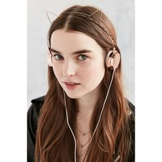 Cat Headphones (52 CAD) ❤ liked on Polyvore featuring accessories, tech accessories, urban outfitters headphones, metal headphones, cat ear headphones and urban outfitters