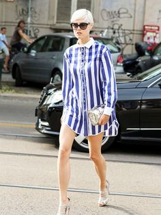 Wear a bold shirtdress buttoned all the way up with playful accessories // #StyleTip #StreetStyle