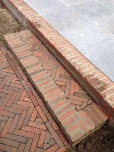 Garden Paving, Garden Trellis, Brick Steps, Brick Detail, Brick Architecture, Backyard Pool Designs, Brick Flooring, Brick Patios, Brick And Stone