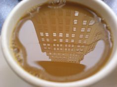 Oh you know you're just sitting outside the cafe drinking your ‪ when you happen to look down at your cup of deliciousness and see a building in the reflection. Very nice! Coffee Art, My Coffee, Coffee Shop, Coffee Cups, Coffee Lovers, Coffee Poster, Coffee Creamer, Black Coffee, Coffee Life