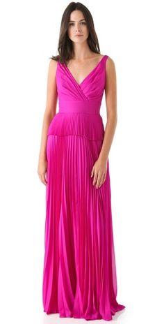 Temperley pleated fuchsia evening gown dress ... Bridesmaids