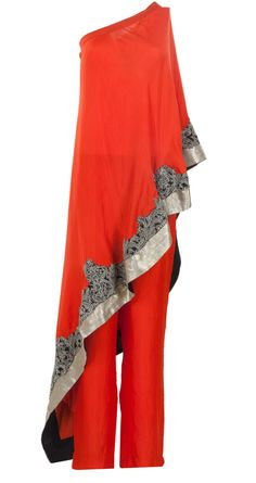 Coral one shoulder dress by ANAMIKA KHANNA. http://www.perniaspopupshop.com/whats-new/anamika-khanna-coral-one-shoulder-dress-ankc0913013.html