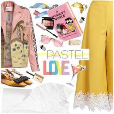 pastel love by ladysnape on Polyvore featuring мода, Delpozo, Valentino, Sara Battaglia, Marni, Olympia Le-Tan, Heidi Abrahamson, Betsey Johnson, ZeroUV and Hermès