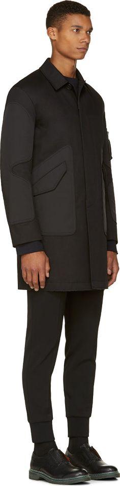 Miharayasuhiro Black Contrast Panels Coat