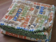 When Wyatt was born my MIL gave me a blanket and burp cloths that were similar to this. I loved them so much that I made a bunch more burp cloths the same way (I even found the exact same camo fabric that she had used!). Here's a tutorial so you can make your own …