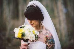 Buntings and twinkle lights filled this lovely west coast celebration. Photo by Dallas Kolotylo Photography. Tattoo Photography, Wedding Photography, Brides With Tattoos, Tattooed Brides, Rockabilly Wedding, Vancouver Wedding Photographer, Let's Get Married, Wedding Pinterest, Wedding Inspiration